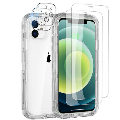 For iPhone 12ProMax11 Rugged Case Cover-Tempered Glass-Camera Lens Protector