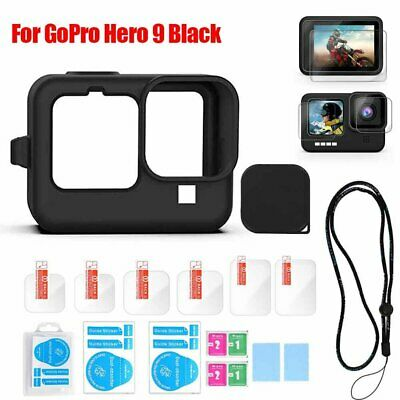 Accessories Kit For GoPro Hero9 Black Silicone Housing Case Tempered Glass Film