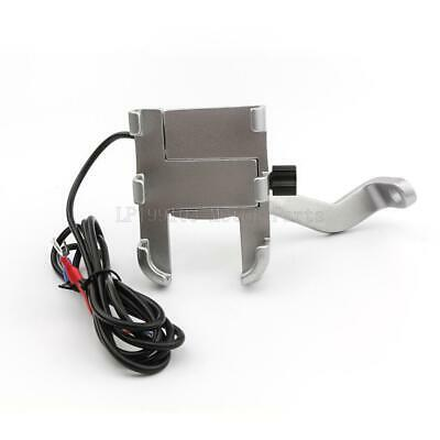 Motorcycle Bicycle Cell Phone GPS Handlebar Mirror Mount Holder USB Charger US