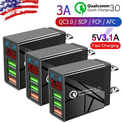 3PACK 3 Port Fast Quick QC 3-0 USB Hub Wall Charger Power Charge Adapter US Plug