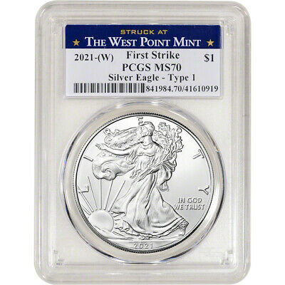 2021 (W) American Silver Eagle - PCGS MS70 - First Strike West Point Label