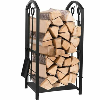 Firewood Rack with 4 Fireplace Tools Set Indoor - Outdoor Fireplace Log Holder