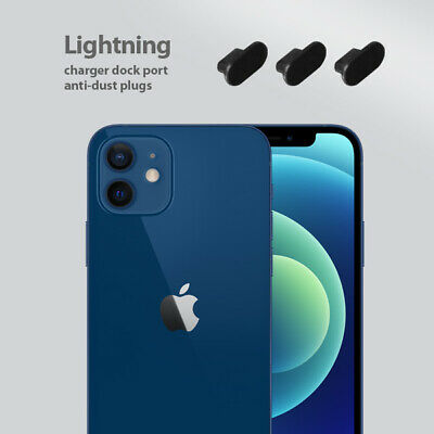 iPhone 12 Charging Cover Lightning Plug Set 3 Pack Anti Dust Silicone Cap