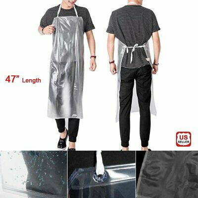 2pc Clear Kitchen Oilproof Apron PVC Reusable Waterproof Chef Cooking BBQ Baking