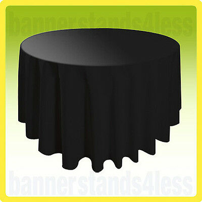 10 PACK of 120 BLACK Round Tablecloth Table Cover Wedding Banquet Event Cloth