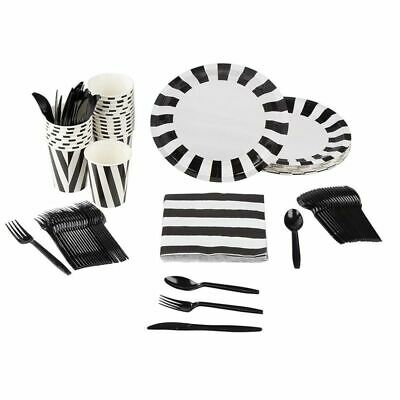 24 Set Disposable Dinnerware Black and White Party Supplies for Happy Halloween
