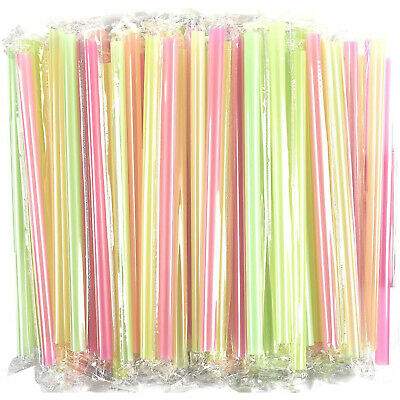 100 Jumbo Drinking Straws Plastic Extra Wide Fat Boba Individually Wrapped 10