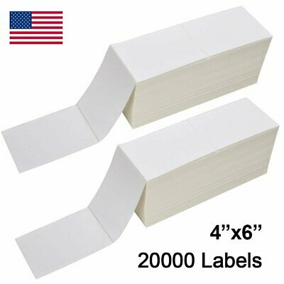 20000 4x6 Fanfold Direct Thermal Shipping Labels Barcode For Zebra Rollo Printer