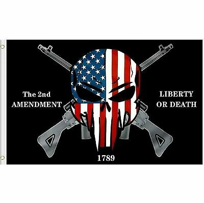 Liberty or Death Punisher 2nd Amendment 1789 Gun Rights Flag 3x5 Grommets TOPW