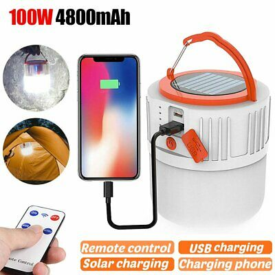 100W Solar LED Tent Lantern USB Rechargeable Emergency Light Camping Hiking Lamp
