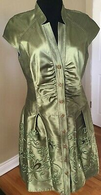 Kay Unger NY Cocktail Party Wedding Dress 8 Green Iridescent Silk Embroidery EUC