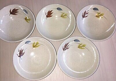 5 Franciscan Ware  5 Bowls AUTUMN LEAVES Fall Colored Speckled MCM  mint