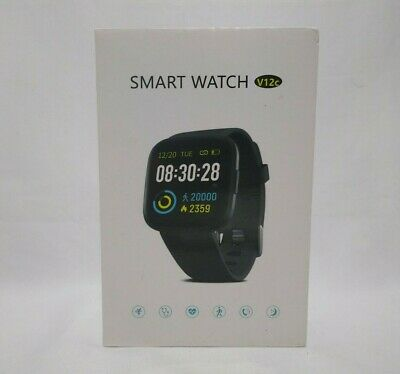 V12C Smart Watch Fitness Tracker 2-in-1 Gray Band In Spanish Mode Black