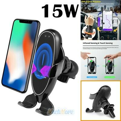 Qi Wireless 15W Fast Car Charger Auto Clamping Air Vent Cell Phone Mount Holder