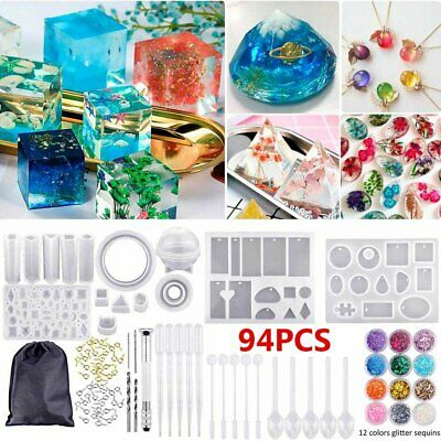 94PCS Resin Casting Silicone Molds Epoxy Spoon Kit Jewelry Craft Making DIY Gift