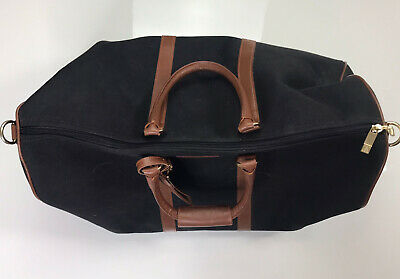 T- Anthony Classic Black Duffle Bag Leather Brown Trim