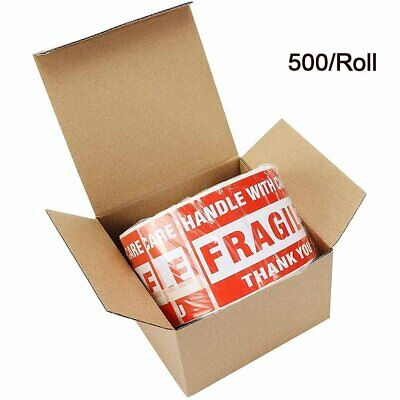 1 Roll 500 Fragile Stickers 3x5 Handle with Care Thank You Warning Labels