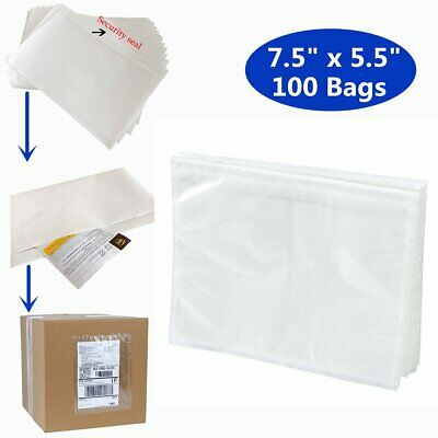 7-5x5-5 Clear Adhesive Top Loading Packing ListShipping Label Envelopes 100PCS
