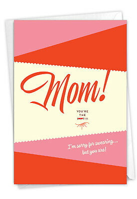 1 Funny Mothers Day Card with Envelope - Sorry For Swearing C6944MDG