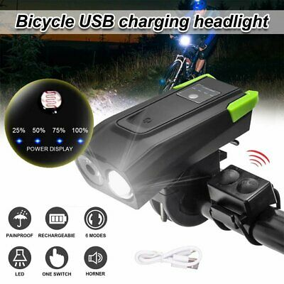 USB Rechargeable LED Bicycle Headlight Bike Head Light Front Lamp - Horn Set
