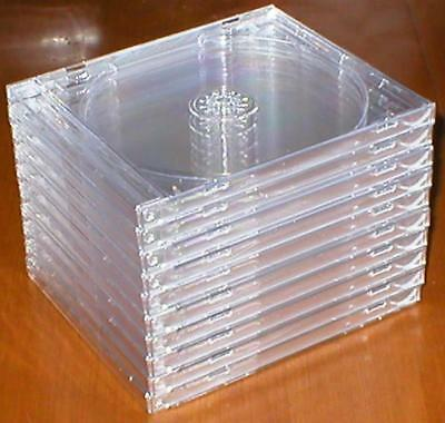 Lot of 10 New Standard-Sized Hard-Plastic Clean Empty Clear CD Jewel Cases