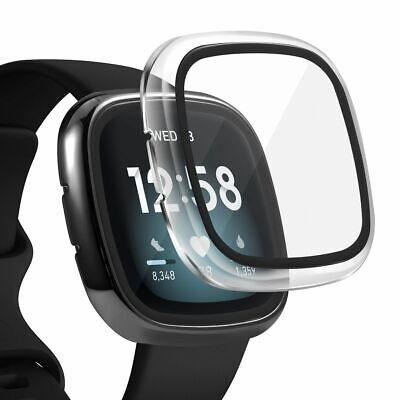 2 x Case Built in Glass Screen Protector For Fitbit Versa 3  Sense Clear-Black