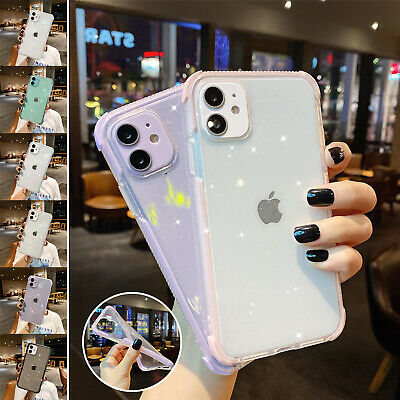 For iPhone 12 11 Pro Max XR XS 7 8- Bling Clear Case Shockproof Bumper Cover