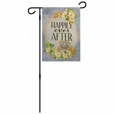 Happily Ever After Garden Flag - Pole 12x18in Yard Flag Just Married Wedding