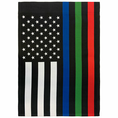 Thin Blue Green Red Line Garden Flag 12x18in Cute Novelty Yard Flag Police Fire