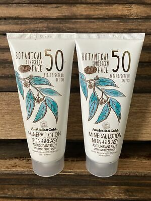 NEW Australian Gold Mineral Lotion Botanical Tinted Sunscreen Face SPF 50 0122