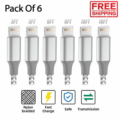 6 Pack Apple MFi Certified Iphone Fast Charger Cable Cord 1211XSX876 Plus
