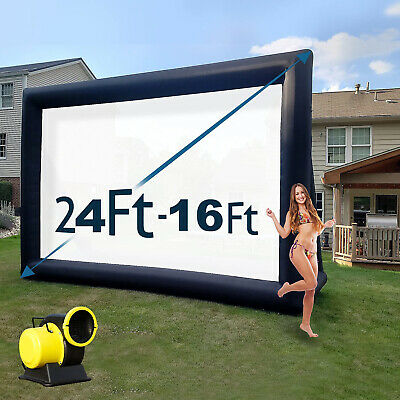 16-24FT Inflatable Movie Projector Screen Outdoor Theater for Backyard Movie US