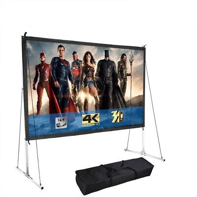 100 Portable Fast Folding Projector Screen 169 HD w Stand for Indoor Outdoor
