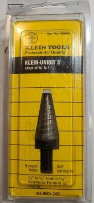 NEW KLIEN TOOLS 59003 STEP DRILL BIT 3 - 14 TO 34 9 HOLE SIZES SEALED