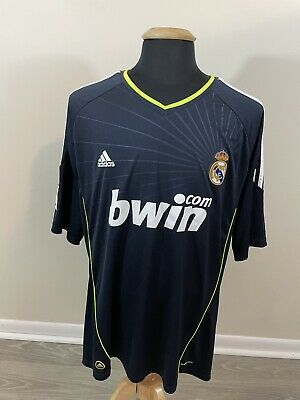 Real Madrid Spain 20102011 Adidas Mens 2XL Away Jersey Blue Blank Climacool