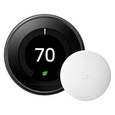 Google Nest Learning Thermostat with Nest Temperature Sensor Black NEW IN BOX