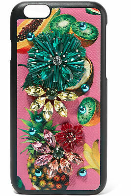 RRP €395 DOLCE & GABBANA Leather Mobile Phone Case For iPhone 7 Tropical Fruit