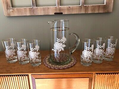 White Flower and Gold Trim Drinks Set With Pitcher and 6 Glasses
