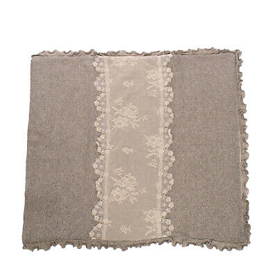 RRP €290 LADIA Wool Knitted Blanket Melange Floral Lace - Ruffle Made in Italy
