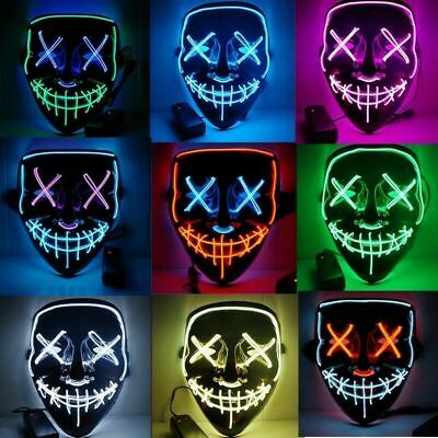 US Halloween LED Glow Mask 3Modes EL Wire Light Up The Purge Movie Costume Party