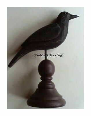 NEW Primitive CROW WOOD On Pedestal Black Rustic Farmhouse 7-75 T Country Fall