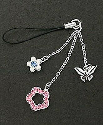 Cell Phone Charm Strap Dangle Crystal Flowers - Silver Butterfly Christmas Gift