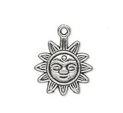 12 Antique Silver Plated Sun Face Charm 17MM