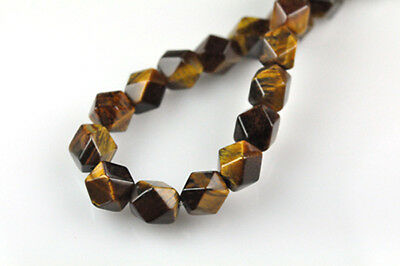 16 Inch Strand Tigers Eye Faceted Nugget Beads 8MM