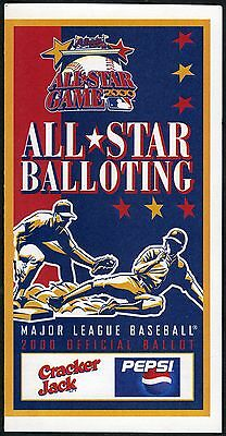 2000 MLB ALL-STAR BASEBALL GAMERARE CRACKER JACK VERSION BALLOTATLANTA BRAVES