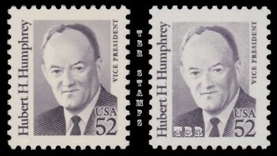 Hubert Humphrey 2189 2189a Great Americans 52c Variety Set of 2 MNH - Buy Now