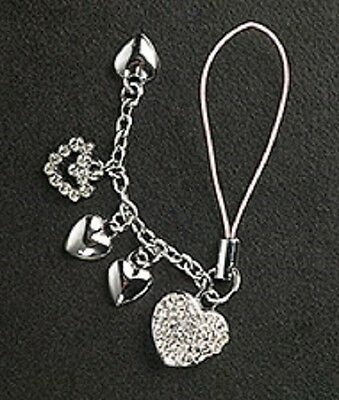 5 Crystal Hearts Cell Phone Charm For Mobile Phone Christmas Gift Silver Plated