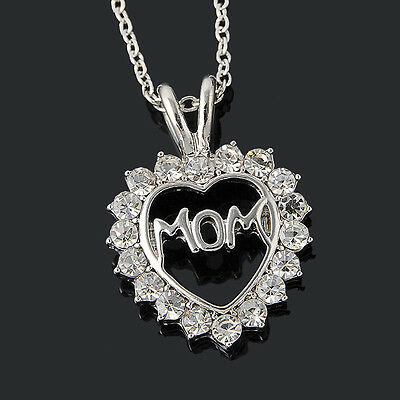 New Charm Mothers Day Gift for Mom Friend Sliver Crystal Heart Necklace Pendant