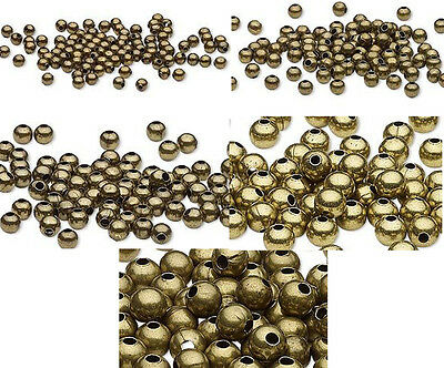 100 Antique Brass Finished Steel Metal Round Spacer Beads 2-5mm 3mm 4mm 6mm 8mm