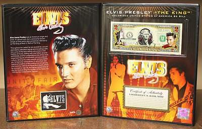 ELVIS PRESLEY  75th Birthday  Colorized U-S- 2 Bill with COLLECTIBLE FOLIO